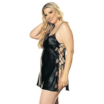 Plus Size Full Figure Sexy Soft Side Lace-Up Chemise Lingerie