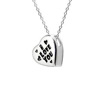 القلب - 925 قلادة فضية فضية عادية - W13136x