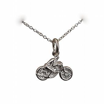 Silver 12x16mm Motorbike and Rider Pendant with a rolo Chain 24 inches