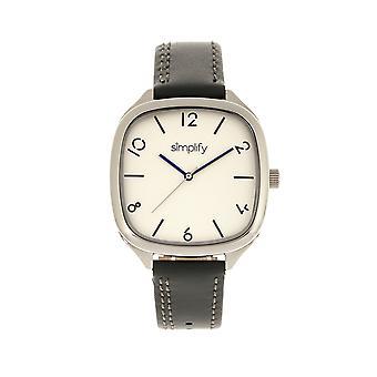 Uprościć 3500 skórzane Band Watch - srebrny/węgiel