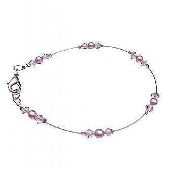 Jahrgang Swarovski Powder Rose Perlen Kristalle Lobster Clasp Armband