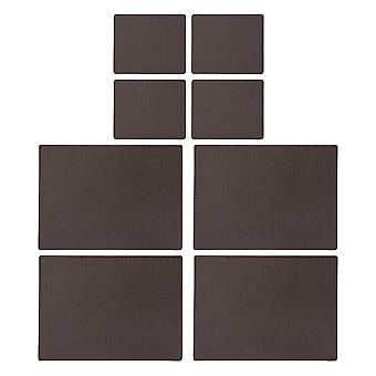 English Tableware Co. Bonded Leather Placemats and Coasters, Chestnut