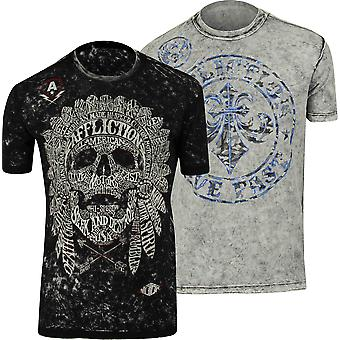 Affliction Mens Native Tongue Reversible T-Shirt - Black/Gray