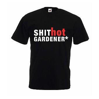 Дерьмо горячие садовник Черная футболка