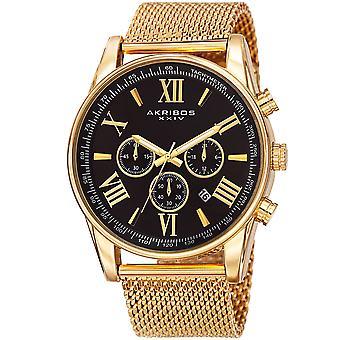 Akirbos XXIV AK813YGB hommes Suisse Quartz chronographe en acier inoxydable maille bracelet montre