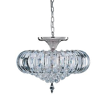 Sigma 5 lys Semi Flush Ceiling Fixture med Crystal innredning - søkelys 50004CC