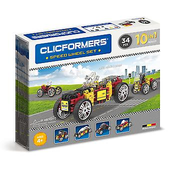 Clicformers Speed Wheel Set 10 in 1 Vehicles 32 PCS Building and Construction