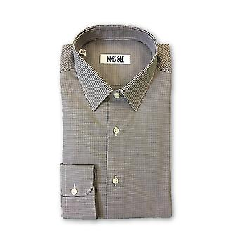 Ingram shirt in brown and white micro gingham pattern