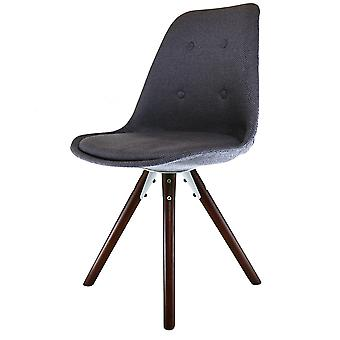Fusion Living Eiffel Inspired Dark Grey Fabric Dining Chair With Pyramid Dark Wood Legs