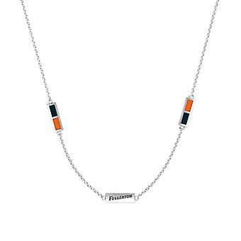 California State U-Fullerton Sterling Silver Engraved Triple Station Necklace In Blue and Orange