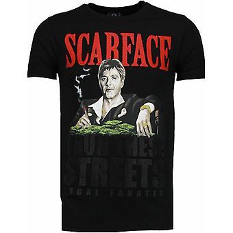 Scarface Boss-Rhinestone T-shirt-Schwarz