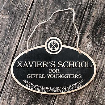 Xavier's school for gifted youngsters - black door sign