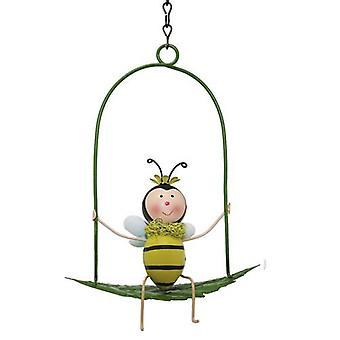 Pszczoła ogrodowa na huśtawce