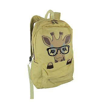 Khaki Yellow Canvas Pocket Peeking Nerdy Giraffe in Glasses Backpack