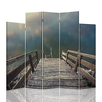 Dekorativa rumsavdelare, 5 paneler, dubbelsidig, canvas, trappor till vattnet 2
