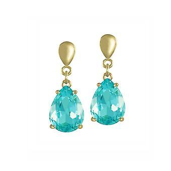 Wieczna kolekcja Uwodzenie Teardrop Aquamarine Crystal Gold Tone Drop Screw Back Clip Na kolczyki