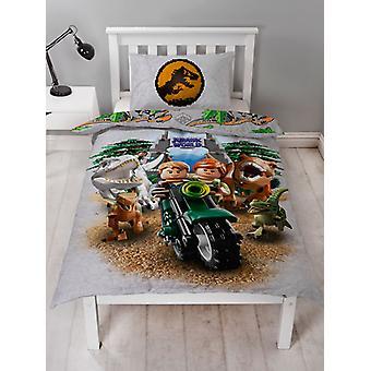 Lego Jurassic World Dinosaur Single Duvet Cover Set
