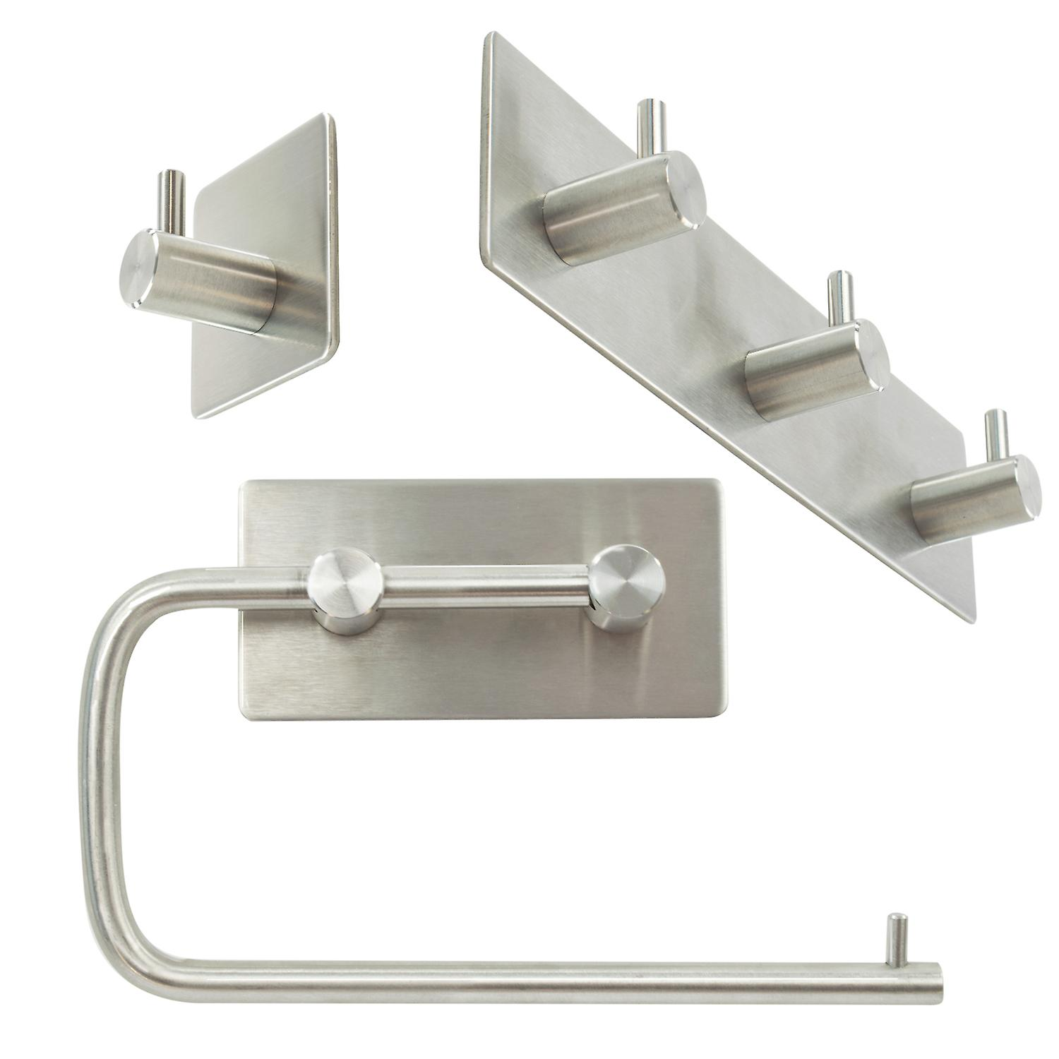 3PC Stainless Steel Bathroom Hooks for Towels Bathroom Shower Kitchen