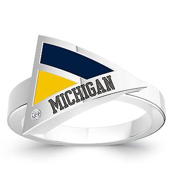 De Universiteit van Michigan Diamond Ring in Sterling Zilver ontwerp door BIXLER