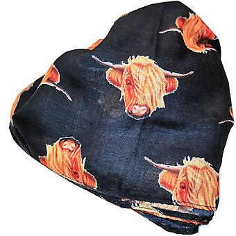 Black Highland Cow Scarf by Butterfly