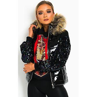 IKRUSH Womens Jill Patent Faux Fur Hood Gilet