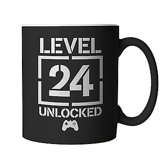 Level 24 Unlocked Video Game Birthday, Mug | Age Related Year Birthday Novelty Gift Present | 60s 70s 80s 90s Dad Grandad Son Mum Daughter | Gaming Cup Gift