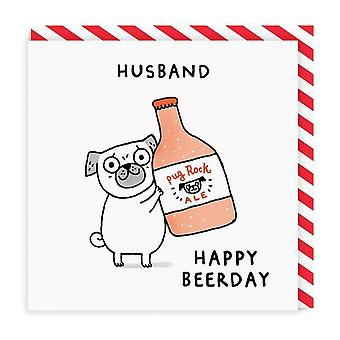 oh Deer Husband Beerday Square Carte d'anniversaire