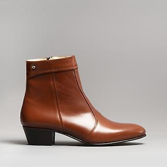Club Cubano Emmanuel Mens Leather Cuban Heel Boots Armagnac