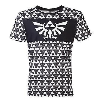 Zelda Royal Crest logo met Tri-Force Checker patroon T-shirt mannelijk medium zwart/wit