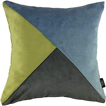 Mcalister textiles diagonal patchwork terciopelo azul, verde + gris cojín