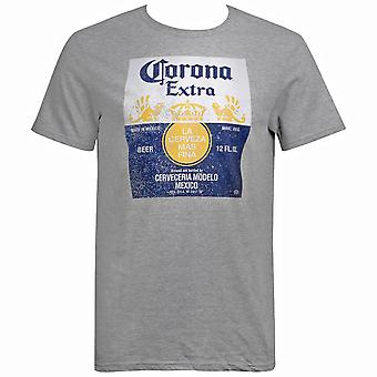 Corona Extra Men's Grey Bottle Label T-Shirt
