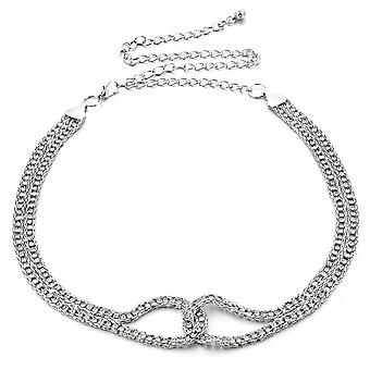44 Zoll 2 Reihe Gold Diamante mit verflochtenen Design Taille Kette Gürtel