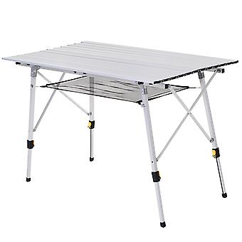 Outsunny 4FT Folding Aluminium Picnic Table Portable Camping BBQ Table Roll Up Top Mesh Layer Rack with Carrying Bag