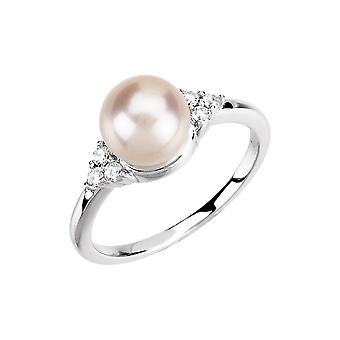 14k White Gold Pearl Diamond 7.5 08mm 0.13 Dwt Freshwater Cultured Pearl Diamond Ring Size 6.5 Jewelry Gifts for Women