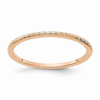 10kr 1.2mm Twisted Wire Pattern Stackable Band Ring Jewelry Gifts for Women - Ring Size: 4.5 to 10
