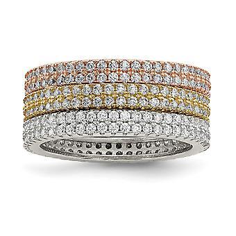 925 Sterling Silber weiß gelb und Rose Ton Set von 3 CZ Zirkonia simuliert Diamant Ewigkeit Ringe Schmuck Geschenke
