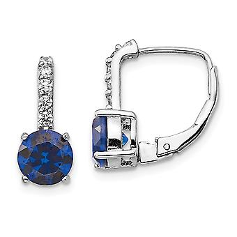 6.37mm Cheryl M 925 Sterling Argent CZ Cubic Zirconia Simulated Diamond and Lab Created Blue Spinel Leverback Earrings J