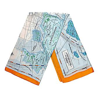 Scarf with map motifs - Blue and Orange, No. 28