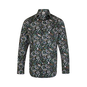 JSS Paisley Blue & Green Regular Fit 100% Cotton Shirt
