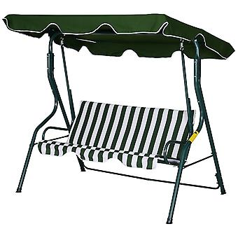 Outsunny 3-Seater Striped Swing Chair Steel Frame Padded Adjustable Overhead Canopy Armrests Garden Chair Outdoors Weather-Resistant Green White