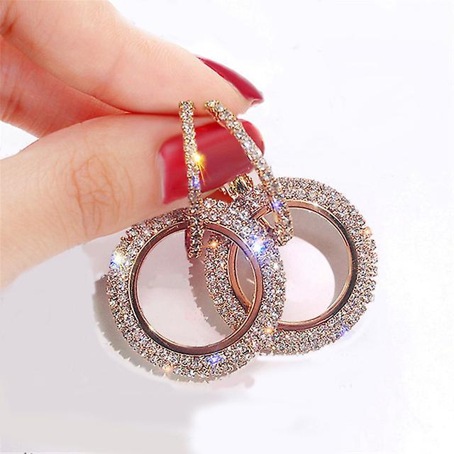 Interlocked Crystals Hoop Earrings - Rose Gold