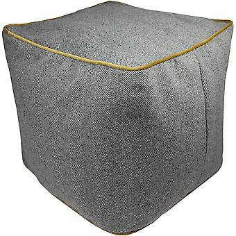 Mcalister textiles deluxe herringbone grey + yellow ottoman cube stool