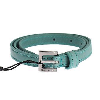 دولتشي وغابانا الأزرق حزام مشبك الفضة الجلدية