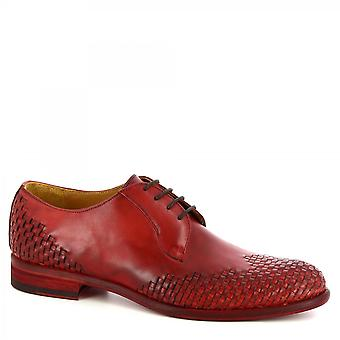 Leonardo Shoes Men's handmade oxford lace-ups shoes in red woven calf leather