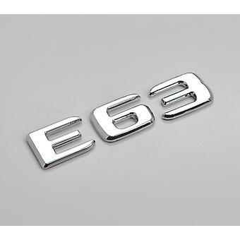 Silber Chrom E63 flach Mercedes Benz Auto Modell hintere Boot Nummer Brief Aufkleber Aufkleber Abzeichen Emblem für E-Klasse W210 W211 W212 C207/A207 W213 AMG