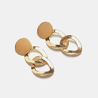 Luxe Oorbel in goud met twee ringen