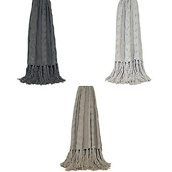 Riva Home Santana Knitted Tassle Throw
