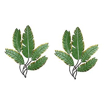Set of 2 Green 23.5 Inch Metal Palm Leaf Clusters Wall Hanging Sculptures Decor