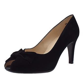 Peter Kaiser Stila Ladies Peep Toe Shoes In Black Suede