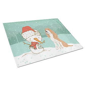 Punainen spanieli lumiukko joululasi leikkuulauta suuri